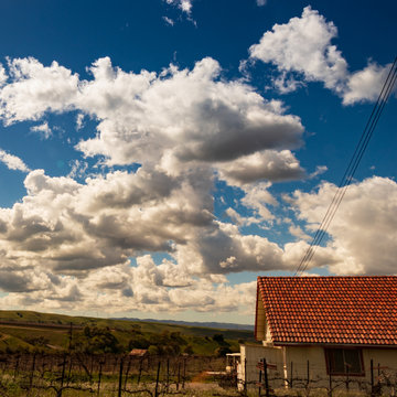 Clouds and blue sky over rolling California Vineyards