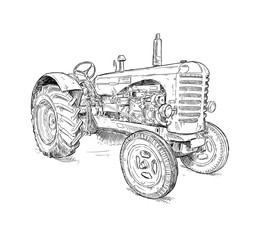 Fototapete - Artistic digital pen and ink drawing of old tractor. Tractor was made in Scotland, United Kingdom in between 1954 - 1958 or 50's.