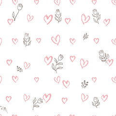 Seamless pattern of hand drawing hearts and tulips. A simple modern background for romantic design. Doodle pink hearts and line-art flowers are carelessly scattered over white.