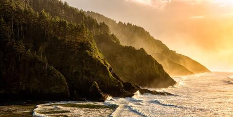 Golden hour over the Oregon Coastline Wall mural