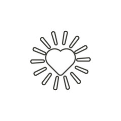 Shining heart rays icon. Simple thin line, outline vector of valentines day, love icons for UI and UX, website or mobile application