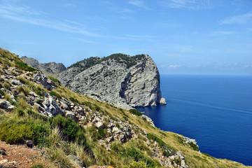 Beautiful sea bay and mountains, Cala Figuera on Cap Formentor, Mallorca