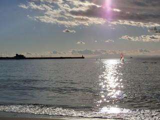 Beautiful ocean view brings us happiness.