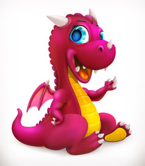 Little red dragon cartoon character. Funny animal, 3d vector icon