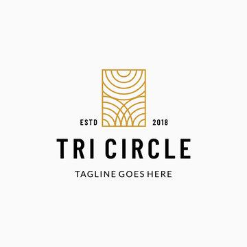 Three circle woodcut logo icon vector template illustration