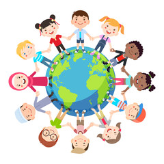 Kids love globe conceptual. Groups of children from all around the world join hands around the globe. Vector illustration.
