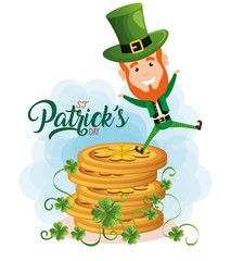 leprechaun with coins saint patrick character
