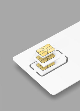 Blank plastic card with sim chip mockup. Vector illustration. Ready for your design. EPS10.