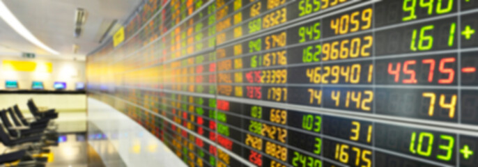 Blurred image of Stock market board