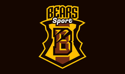 Colorful logo, emblem, letter the scratched claw angry bear, grizzly. Vector illustration, dynamic and sporty style, printing on T-shirts