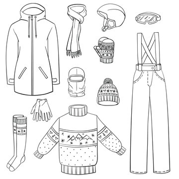 Set of winter clothes. Hand drawn collection of clothes for  for snowboarding and skiing