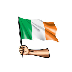 Ireland flag and hand on white background. Vector illustration