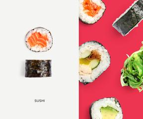 Foto op Plexiglas Sushi bar Creative layout made of sushi. Flat lay. Food concept. Macro concept.