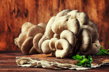 Oyster mushroom on vintage wooden kitchen table, still life in rustic style, selective focus