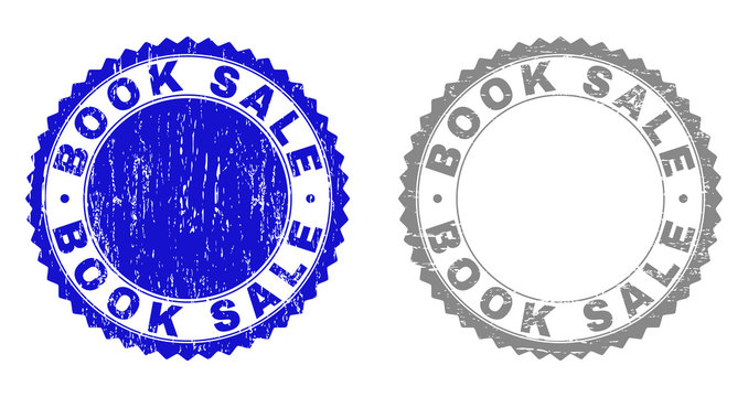 Grunge BOOK SALE stamp seals isolated on a white background. Rosette seals with grunge texture in blue and grey colors. Vector rubber imitation of BOOK SALE tag inside round rosette.