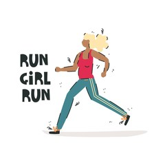 Handdrawn vector illustration of a girl-athlete. Positive character.