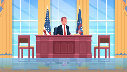 president sitting workplace wooden furniture USA national flag oval office white house cabinet interior male leader of the united states portrait flat horizontal