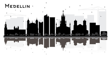Medellin Colombia City Skyline Silhouette with Black Buildings and Reflections Isolated on White.