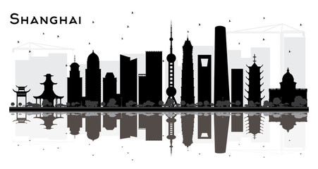 Shanghai China City Skyline Silhouette with Black Buildings and Reflections Isolated on White.