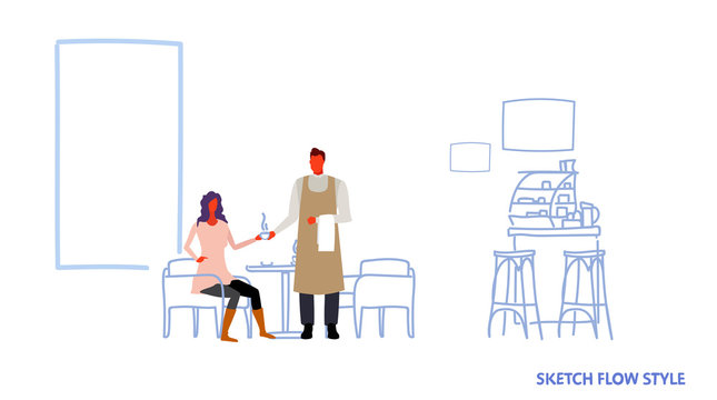 man waiter serving coffee drink to woman visitor sitting at cafe table modern restaurant interior male female cartoon characters full length sketch flow style horizontal