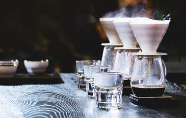 Barista is making coffee, coffee preparing with chemex
