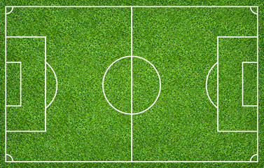 Poster Cultuur Football field or soccer field for background. Green lawn court for create game.