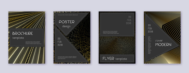 Black brochure design template set. Gold abstract