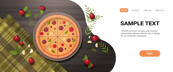 fresh pizza surrounded by vegetables restaurant italian delicious concept top angle view food served on wooden table horizontal flat copy space