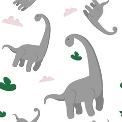 seamless pattern with dino. Creative vector background for fabric, textile