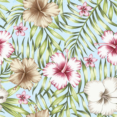 Green tropical leaves and pink hibiscus seamless white background