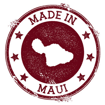 Made in Maui stamp. Grunge rubber stamp with Made in Maui text and island map. Lovely vector illustration.