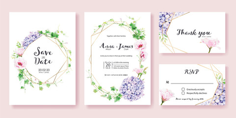 Wedding Invitation, save the date, thank you, rsvp card Design template.Greenery Ivy, Pink Lisianthus, Hydrangea flower. Watercolor style. Vector