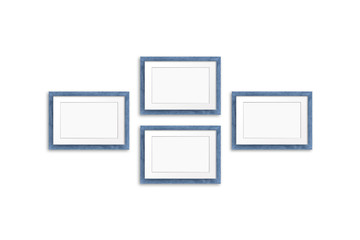Blank photo frames mock up, four grey blue realistic wooden frameworks isolated on white