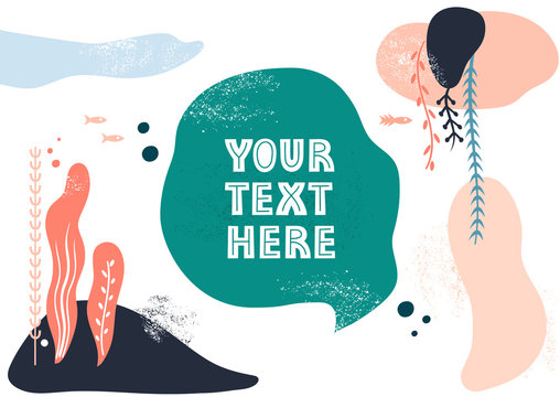 Vector template with space for text. Theme of underwater world, fishes and seaweeds, travel