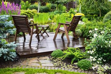 Garden furniture near the pond