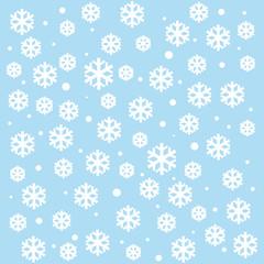 Snowflakes on blue sky - Christmas seamless background
