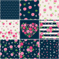 Patchwork background with different patterns for textile, gift wrap and scrapbook. Vector illustration.