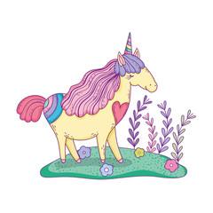 beautiful little unicorn in the landscape