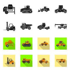 Vector design of build and construction icon. Collection of build and machinery vector icon for stock.