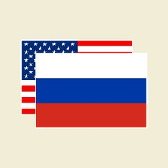 Vector Flags USA And Russia Set