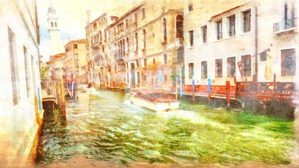 Romantic scenery of Venice, Italy. Computer painting.