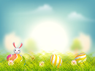 Nature view background with cute bunny and easter eggs illustration.