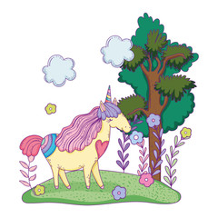 Garden Poster Pony beautiful little unicorn in the landscape