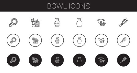 bowl icons set