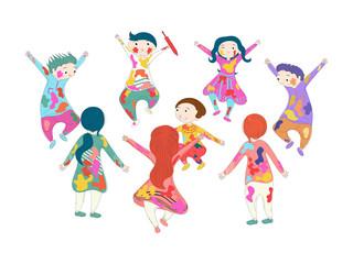 Set of cute children character celebrating holi festival.