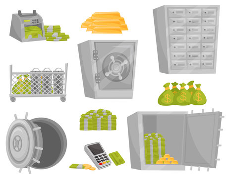 Flat vector set of bank icons. Banknote counter, gold bars, bags of money, safe door, deposit boxes. Financial theme