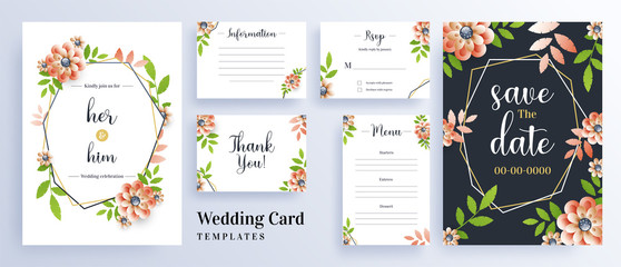 Beautiful flowers decorated wedding invitation card template layout for save the date concept.