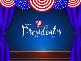 USA presidential stage background for Happy President's Day celebration concept.