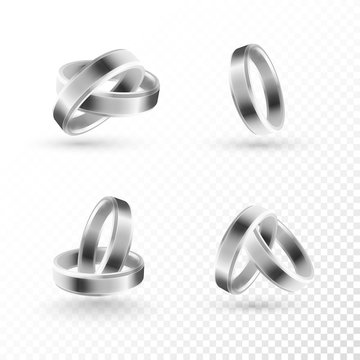 Wedding ring set of silver metal on transparent background.
