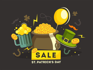 Vector illustration of cauldron, beer mug and leprechaun hat on brown background for St Patrick's Day sale poster or banner design.
